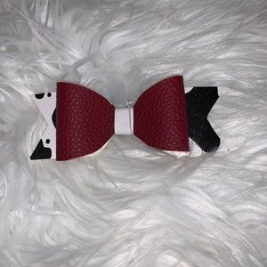 Maroon and cow print hair bow